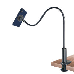 Soporte de soporte de teléfono móvil ajustable universal de escritorio montaje 360 rotación Soporte de micrófono magnético para teléfono móvil Soporte de cuello de cisne