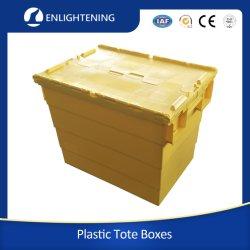 400*300*260mm Tote traslochi per frutti di mare turnover in plastica per impieghi pesanti in HDPE Nestable Cassetta/scatola di sicurezza con coperchio bloccabile con cerniera