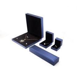 2021 Collar de cuero de PU Azul personalizada de joyas de cajas de embalaje Caja de lujo con la impresión de logotipo