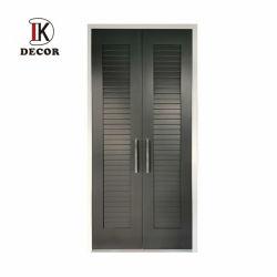 As portas do armário de madeira fabricante chinês guarda-roupa preta porta com frestas de Abertura e Fechamento da Porta