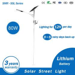 Éclairage extérieur 80W Lampe solaire solaire Rue lumière LED avec batterie au lithium sous forme de la Chine fabricant