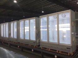 Supermercado mayorista Mostrar nevera congelador de la pantalla de la puerta de vidrio para bebidas