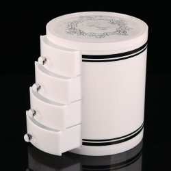 4 capas de acrílico blanco cilíndrico de caja de almacenamiento de joyas