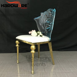 Hôtel de l'acrylique Mobilier Chaises de salle à manger en cuir à LED