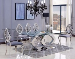 Moderno Cristal mesa y silla de comedor Muebles Hotel Set