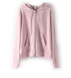 Индивидуальные пружины осенью 100% хлопок колпачковая куртка с застежкой на молнию чистый цвет длинной втулки спортивные покрытия для женщин девочки ежедневно ношения одежды
