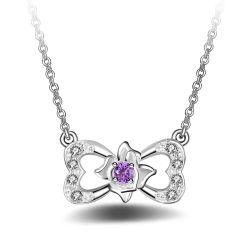 Hochzeits-Kristallschmucksachen der eleganten Frauen 925 Sterlingsilber-Inner-geformte Blumen-hängende Halsketten-romantische Valentinstag-Geschenke