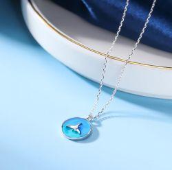 S925 Pure Silver Simple Fashion Blue Minnow Dolphin سلسلة الياقات الملصقة ملحق للنساء