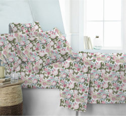De poliéster e têxteis de algodão com flores para o conjunto de roupa de cama