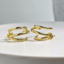 Bijoux en argent bijoux en or 18K Multilayer C-Shaped Earring 925 Sterling Silver Earring