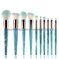 Pincel de maquillaje personalizada Establecer 8pcs azul de la Fundación angulado Blush Brush cosméticos de la herramienta de belleza
