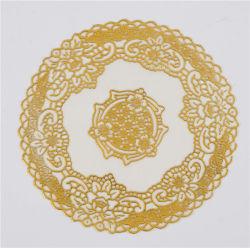maison/café populaires d'utilisation d'or de 20cm de PVC de napperon rond de lacet