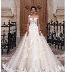 2019의 레이스 신부 복장 투명한 보디스 주문 구슬로 만드는 웨딩 드레스 Ld1165