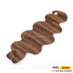 Double tirées des Cheveux humains indiens liée à la main d'extension vierge Remy Hair