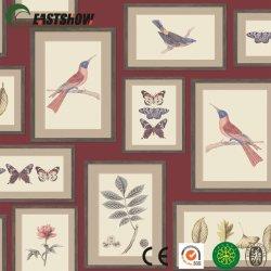 Aves e flores do novo papel de parede padrão para a decoração de paredes