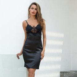 2019 de haute qualité satin Sexy femmes dentelle robe de sommeil ML7021