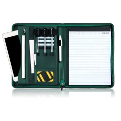Portafoglio di cuoio dell'unità di elaborazione di archivio del dispositivo di piegatura del documento di verde su ordinazione del raccoglitore con il marchio
