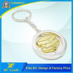 Supporto in lega di zinco rotativo placcato argento personalizzato della catena chiave del ricordo del mestiere di rilievo del cerchio di modo di Keychains di promozione dell'oro di combinazione (KC03)