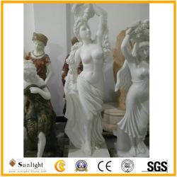 Белый мрамор камень Карвинг Леди рисунок для сада и оформление