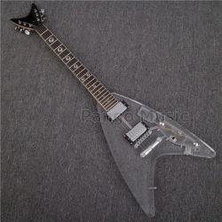 La musique Pango V de la forme du corps en acrylique guitare électrique avec des voyants LED (PAG-175S)