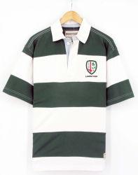 2017 Los hombres de Rugby Peached tinte de hilados de algodón de manga corta de la moda vestidos camisetas polo pesados (S8138)