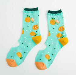 Meninas grossista personalizado no Verão de algodão fino Tulle meias prateadas Lace Ruffle Transparente Frilly floral colorido Tornozelo Algodão Meias para Mulheres