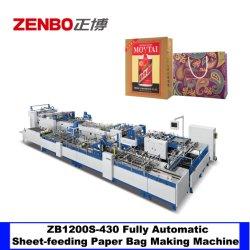 حقيبة ورق تسوق ذات حقيبة يد Zb1200CS-430s ذات خط تلقائي ماكينة زينبو تحميص البطاقة السفلية باستخدام الإنتاج الجماعي في قاع المربع