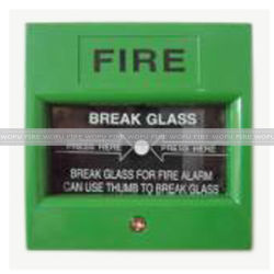 壊れ目のガラス手動火災報知器ボタン