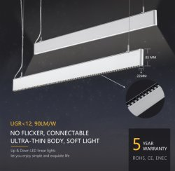 Perfil de aluminio ultraligero 20~80W LED Luz lineal suspendido del techo de pared 90lm/W 2700~7000K de temperatura de color Osram LED SMD3030 Taza reflectante