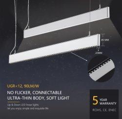 80W à LED ultra-léger Lumière linéaire mur suspendu au plafond 2400mm 90lm/W