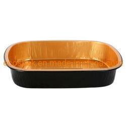 أسود نوع ذهب مشواة مستطيلة [تين فويل] صينية مستهلكة وجهة صندوق محمول صندوق [ألومينوم فويل] قصع نوع ذهب [تين فويل] صندوق