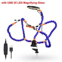 테이블 클램프 납땜 인두 손 세번째 공구 인두기 USB 3X 조명이 들어오는 돋보기 용접 수리 공구
