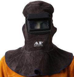 Цвет кофе углерода Cowhide складной сварки защитную маску для лица гибкие Heat-Insulating Two-Layer Thin-Core кожу сварки защитную маску для лица