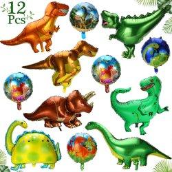공룡 풍선 공룡 파티 용품, 공룡 포일 풍선 12개 알루미늄 마일라 헬륨 정글 생일 결혼식 생일 축하 파티 아기 풍선