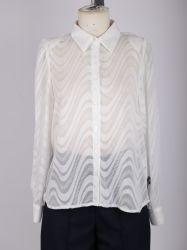 Ladies' Fashion mousseline de soie dentelle Chemise avec col chemise Placket complet