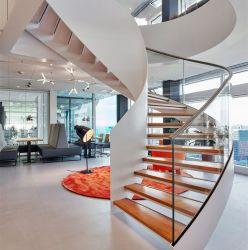 Edifício comercial Modular Prefabricate Corrimão de vidro sólidos de madeira escadas