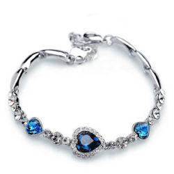 El encanto de la moda corazón Chain Bracelet Pulsera cristal azul natural para mujeres regalos de joyas de boda