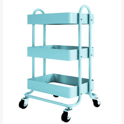 Metal Rolling Utility Food Cart Storage Trolley Mobile Shelf Kitchen Rek
