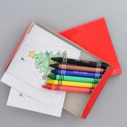 Briefpapier-Weihnachtsgeschenk-Zeichenstift gesetzte ungiftige 6 PCS-Wachs-Zeichenstifte und 8 PCS-Zugnummern im Farben-Kasten
