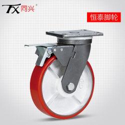 """6"""" de Serviço Pesado com núcleo de ferro Giratório de poliuretano roda pivotante com freio (Plano)"""