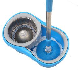 Mop magico rotondo girante di rotazione di pulizia dei 360 pavimenti della cucina di Waketm Microfiber del metallo della polvere pigra della benna