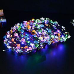 Voyant LED de la couronne de fleurs gerbe de fleurs bandeau fleur 10 LED lumineux coiffure Fleur de Coiffure de mariage pour les filles femmes Festival Halloween Noël Vacances