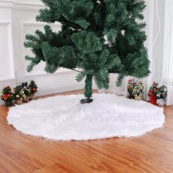 Ornamento de Navidad de color blanco puro pelo largo Falda del árbol de Navidad 78 90 122cm de árbol de Navidad Árbol adornado falda