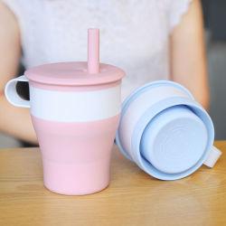 BPA geben kleinen MOQ zusammenklappbaren Silikon-Trinkwasser-Flaschen-Kaffee-Saft-Milch-Frühstück-Cup-Becher des FDA Grad-mit Griff-Deckel-Kappen-Stroh 480ml 16oz frei