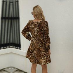 Slanna nuevo diseño de moda vestidos de leopardo Europea imprime una línea Vintage vestidos MIDI