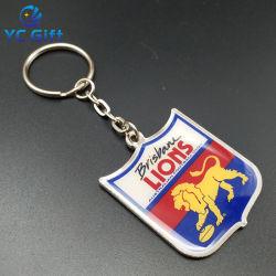 Roestvrijstalen boogbeschermer vorm sleutelhouder aangepaste auto Animal Logo Epoxy souvenir Decoratie Accessoires sleutelhanger voor Promotie Gift (C39)