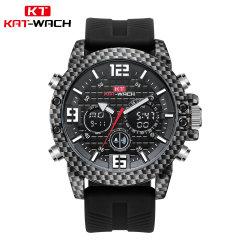 Китай Гуанчжоу с кожаный ремешок кварцевые часы хронограф двойного времени цифрового качества оптовых часы
