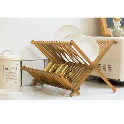 Séchoir à vaisselle en bambou à 2 niveaux pliable pour comptoir de cuisine