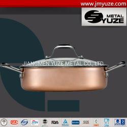 鍋を、ダッチオーブン調理する、三重にステンレス鋼または銅の調理器具台所道具