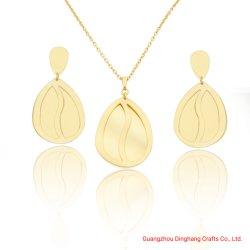 Galvanisieren u. bewog Elektrophorese 2 Schichten Pyriform Gold wellenartig u. höhlen verfilztes Gold heraus Form-Schmucksache-Set aus